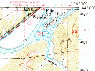 Reduced fragment of topographic map en--usgs--063k--062550--(1956)--N044-00_W124-15--N043-45_W124-00 in area of Siltcoos Lake, Tahkenitch Lake, Woahink Lake; towns and cities Florence, Dunes City