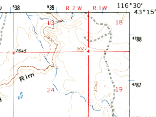 Reduced fragment of topographic map en--usgs--063k--062554--(1965)--N043-15_W116-45--N043-00_W116-30