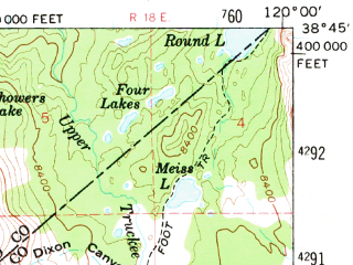 Reduced fragment of topographic map en--usgs--063k--062560--(1956)--N038-45_W120-15--N038-30_W120-00 in area of Caples Lake, Silver Lake, Bear Reservoir