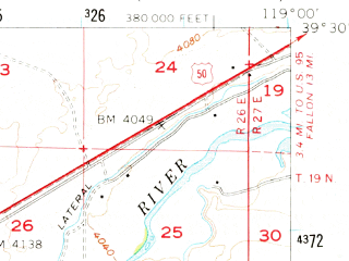 Reduced fragment of topographic map en--usgs--063k--062565--(1957)--N039-30_W119-15--N039-15_W119-00 in area of Lahontan Reservoir; towns and cities Silver Springs