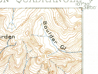 Reduced fragment of topographic map en--usgs--063k--062567--(1901)--N038-00_W107-45--N037-45_W107-30; towns and cities Silverton