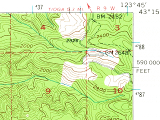 Reduced fragment of topographic map en--usgs--063k--062617--(1955)--N043-15_W124-00--N043-00_W123-45