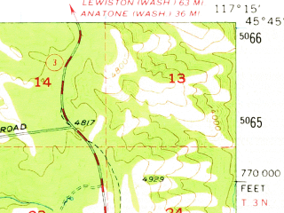 Reduced fragment of topographic map en--usgs--063k--062656--(1957)--N045-45_W117-30--N045-30_W117-15