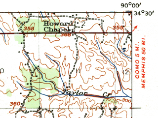 Reduced fragment of topographic map en--usgs--063k--062657--(1939)--N034-30_W090-15--N034-15_W090-00; towns and cities Sledge