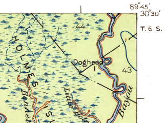 Reduced fragment of topographic map en--usgs--063k--062688--(1939)--N030-30_W090-00--N030-15_W089-45; towns and cities Slidell, Lacombe