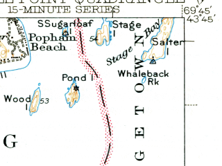 Reduced fragment of topographic map en--usgs--063k--062695--(1944)--N043-45_W070-00--N043-30_W069-45