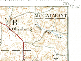 Reduced fragment of topographic map en--usgs--063k--062698--(1938)--N041-00_W079-15--N040-45_W079-00; towns and cities Dayton, Marion Center, Plumville