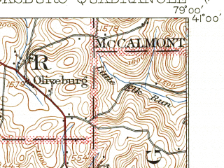 Reduced fragment of topographic map en--usgs--063k--062698--(1939)--N041-00_W079-15--N040-45_W079-00; towns and cities Dayton, Marion Center, Plumville