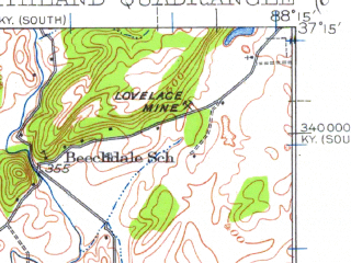 Reduced fragment of topographic map en--usgs--063k--062703--(1942)--N037-15_W088-30--N037-00_W088-15; towns and cities Calvert City, Hamletsburg, Ledbetter
