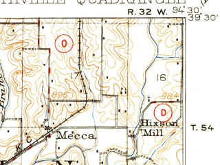 Reduced fragment of topographic map en--usgs--063k--062709--(1914)--N039-30_W094-45--N039-15_W094-30; towns and cities Ferrelview, Ridgely, Smithville