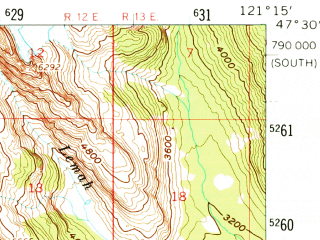 Reduced fragment of topographic map en--usgs--063k--062720--(1961)--N047-30_W121-30--N047-15_W121-15 in area of Keeshelus Lake