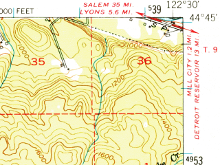 Reduced fragment of topographic map en--usgs--063k--062722--(1951)--N044-45_W122-45--N044-30_W122-30