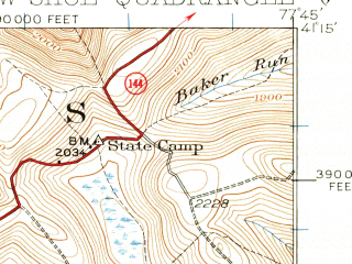 Reduced fragment of topographic map en--usgs--063k--062723--(1928)--N041-15_W078-00--N041-00_W077-45; towns and cities Snow Shoe