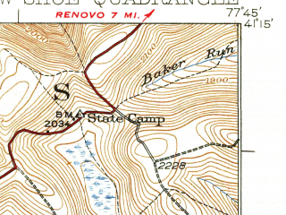 Reduced fragment of topographic map en--usgs--063k--062723--(1931)--N041-15_W078-00--N041-00_W077-45; towns and cities Snow Shoe