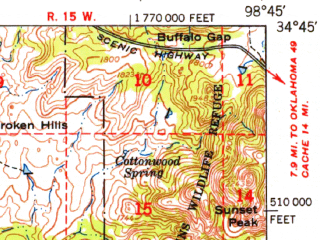 Reduced fragment of topographic map en--usgs--063k--062727--(1950)--N034-45_W099-00--N034-30_W098-45; towns and cities Indiahoma, Manitou, Mountain Park