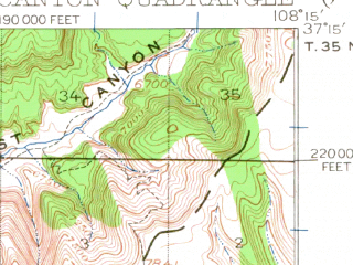 Reduced fragment of topographic map en--usgs--063k--062729--(1912)--N037-15_W108-30--N037-00_W108-15