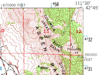 Reduced fragment of topographic map en--usgs--063k--062733--(1948)--N042-45_W111-45--N042-30_W111-30 in area of Alexander Reservoir; towns and cities Grace, Soda Springs