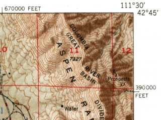 Reduced fragment of topographic map en--usgs--063k--062733--(1949)--N042-45_W111-45--N042-30_W111-30 in area of Alexander Reservoir; towns and cities Grace, Soda Springs