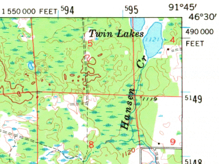 Reduced fragment of topographic map en--usgs--063k--062762--(1961)--N046-30_W092-00--N046-15_W091-45; towns and cities Solon Springs