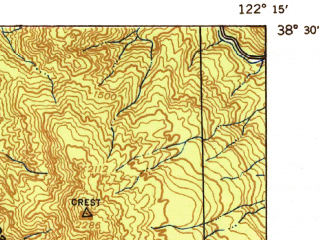 Reduced fragment of topographic map en--usgs--063k--062769--(1942)--N038-30_W122-30--N038-15_W122-15; towns and cities Napa, Boyes Hot Springs, Sonoma, El Verano, Fetters Hot Springs-aqua Caliente