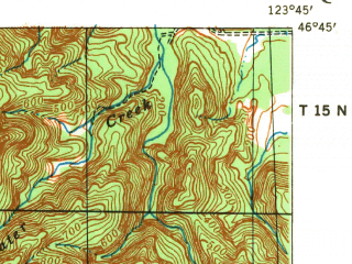 Reduced fragment of topographic map en--usgs--063k--062781--(1940)--N046-45_W124-00--N046-30_W123-45; towns and cities South Bend