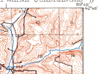 Reduced fragment of topographic map en--usgs--063k--062802--(1923)--N042-45_W090-00--N042-30_W089-45; towns and cities Browntown, South Wayne, Argyle