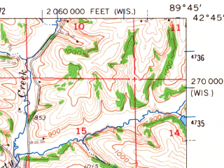 Reduced fragment of topographic map en--usgs--063k--062802--(1962)--N042-45_W090-00--N042-30_W089-45; towns and cities Argyle, Browntown, South Wayne