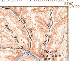 Reduced fragment of topographic map en--usgs--063k--062832--(1907)--N039-00_W081-30--N038-45_W081-15; towns and cities Reedy, Spencer
