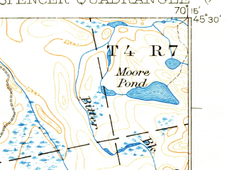 Reduced fragment of topographic map en--usgs--063k--062835--(1932)--N045-30_W070-30--N045-15_W070-15 in area of Spencer Lake