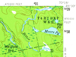 Reduced fragment of topographic map en--usgs--063k--062835--(1958)--N045-30_W070-30--N045-15_W070-15 in area of Spencer Lake