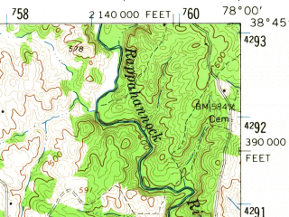 Reduced fragment of topographic map en--usgs--063k--062837--(1961)--N038-45_W078-15--N038-30_W078-00; towns and cities Washington