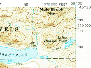 Reduced fragment of topographic map en--usgs--063k--062841--(1961)--N046-30_W069-15--N046-15_W069-00 in area of Pleasant Lake, Spider Lake, Haymock Lake