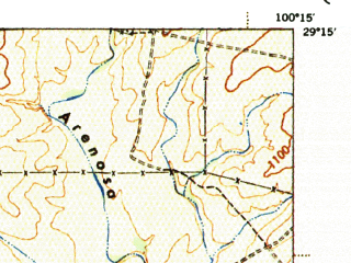 Reduced fragment of topographic map en--usgs--063k--062852--(1944)--N029-15_W100-30--N029-00_W100-15; towns and cities Spofford