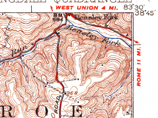 Reduced fragment of topographic map en--usgs--063k--062871--(1935)--N038-45_W083-45--N038-30_W083-30; towns and cities Manchester