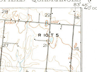 Reduced fragment of topographic map en--usgs--063k--062872--(1904)--N040-00_W084-00--N039-45_W083-45; towns and cities Springfield, Northridge, Yellow Springs, Clifton, Donnelsville