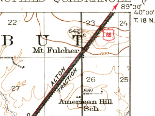 Reduced fragment of topographic map en--usgs--063k--062873--(1930)--N040-00_W089-45--N039-45_W089-30; towns and cities Springfield, Sherman, Southern View, Spaulding