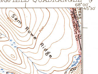 Reduced fragment of topographic map en--usgs--063k--062878--(1934)--N045-30_W068-15--N045-15_W068-00 in area of Upper Sysladobsis Lake