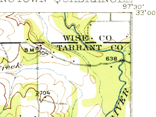 Reduced fragment of topographic map en--usgs--063k--062880--(1932)--N033-00_W097-45--N032-45_W097-30 in area of Lake Weatherford; towns and cities Azle, Pelican Bay, Sanctuary, Springtown