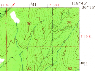 Reduced fragment of topographic map en--usgs--063k--062883--(1957)--N036-15_W119-00--N036-00_W118-45 in area of Lake Success; towns and cities East Porterville