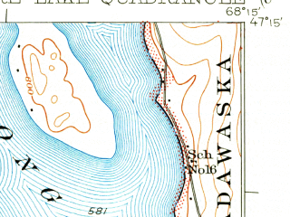 Reduced fragment of topographic map en--usgs--063k--062892--(1931)--N047-15_W068-30--N047-00_W068-15 in area of Square Lake, Cross Lake