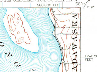 Reduced fragment of topographic map en--usgs--063k--062892--(1953)--N047-15_W068-30--N047-00_W068-15 in area of Square Lake, Cross Lake