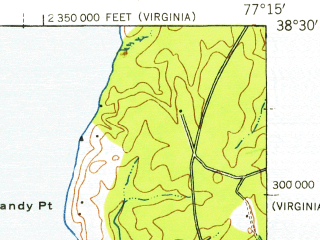 Reduced fragment of topographic map en--usgs--063k--062900--(1926)--N038-30_W077-30--N038-15_W077-15; towns and cities Fredericksburg, Aquia Harbour, Falmouth
