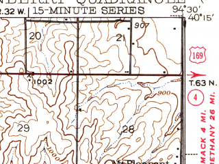 Reduced fragment of topographic map en--usgs--063k--062906--(1943)--N040-15_W094-45--N040-00_W094-30; towns and cities Guilford, King City, Stanberry