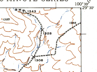 Reduced fragment of topographic map en--usgs--063k--062907--(1943)--N029-30_W100-45--N029-15_W100-30