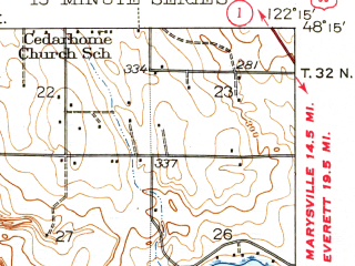 Reduced fragment of topographic map en--usgs--063k--062921--(1943)--N048-15_W122-30--N048-00_W122-15 in area of Port Susan; towns and cities Cathan, Lake Goodwin, Langley