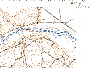 Reduced fragment of topographic map en--usgs--063k--062923--(1920)--N033-15_W082-30--N033-00_W082-15; towns and cities Stapleton, Wrens