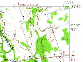 Reduced fragment of topographic map en--usgs--063k--062924--(1959)--N031-30_W098-30--N031-15_W098-15