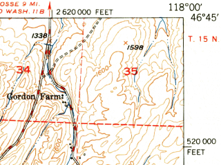 Reduced fragment of topographic map en--usgs--063k--062929--(1950)--N046-45_W118-15--N046-30_W118-00; towns and cities Starbuck