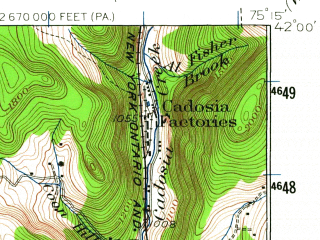 Reduced fragment of topographic map en--usgs--063k--062934--(1930)--N042-00_W075-30--N041-45_W075-15; towns and cities Hancock, Starrucca