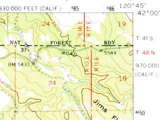 Reduced fragment of topographic map en--usgs--063k--062950--(1962)--N042-00_W121-00--N041-45_W120-45